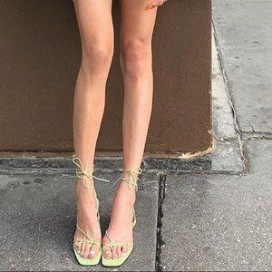 Zara Green NWT Strappy Tie Sandal